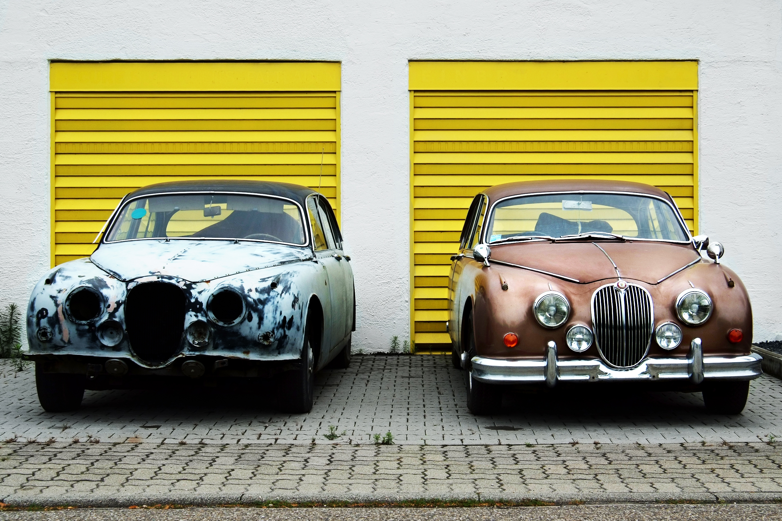 old and new cars
